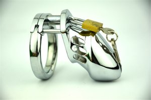 Male Stainless Steel Cock Cage Penis Ring Chastity Device Catheter with Stealth Lock Adult Belt Sex Toy
