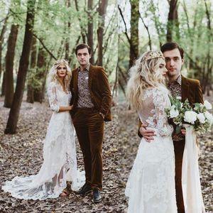 Retrò bohemian pizzo guaina abito da sposa vintage anteriore fessura anteriore rustico campagna abiti da sposa maniche lunghe gybsy boho sposa abito