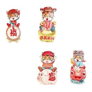 Fridge Magnets 4Pcs Stereoscopic Tiger Decals Stickers Kitchen Cartoon