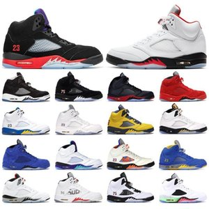 Jumpman 5 5s Top 3 Fire Red Michigan Mens Basketball Shoes Retroes Black Grape Fresh Prince Muslin Satin Bred Sneakers Trainers