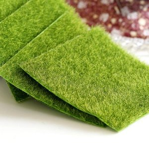Artificial Grass Mat Plastic Lawn Green Synthetic Turf Miniature Garden Ornament For Dollhouse Tool Decorative Flowers & Wreaths