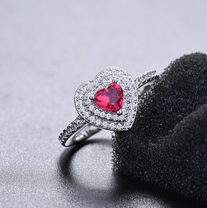 Diamond with royal blue heart ruby ring and women's color topa open rings [Store Opening]