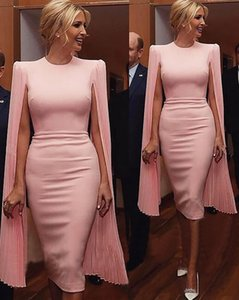 2021 modest pink sheath evening Dresses jewel neck prom Party Cocktail formal Gowns with soft chiffon long sleeves custom made robes de bal