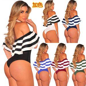 Femmes d'été Mode 2021 Maillots de bain Simple Standard Taille Sexy Striped Ruffle Jumpsuit Triangl Tankini