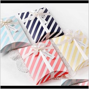 Stripe Cake Box Gift Wedding Packaging Pillow Shape Jewelry Favor Candy Paper Bags Birthday Chocolate Present Boxes Wrap F9Jjs Nwqiv