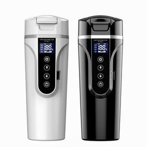 물 병 450ml 다기능 자동차 전기 난방 컵 터치 스크린 휴대용 스마트 커피 머그잔 온도 조절 가능