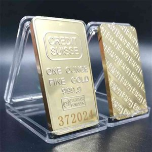 Non-magnetic CREDIT SUISSE Ingot 1 Oz Gold-plated Gold Bar Swiss Souvenir Coins With Different Serial Laser Numbering Crafts Collectibles