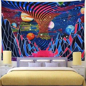 Floresta psicodélica montanha tapeçaria parede pendurado poliéster Dorm Decor Hippie Trippy Brilhante Tapeçaria Tapete Pano Cobertor Tapete
