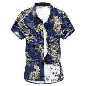 여름 중국 스타일 셔츠 드래곤 인쇄 패션 브랜드 남성 비즈니스 캐주얼 짧은 소매 남성 슬림 사회 남자 셔츠