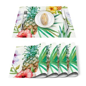 Table Runner 4 6pcs Tropical Leaves Pineapple Flowers Kitchen Placemat Set Dining Mats Cotton Linen Pad Bowl Cup Mat Home Decor