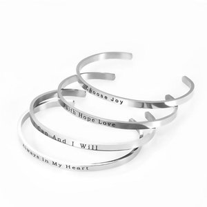 Fashion Unisex 4mm Stainless Steel Engraved 4 Positive Phrases Mantra Open Bangles Jewelry Gifts Dropship Bangle