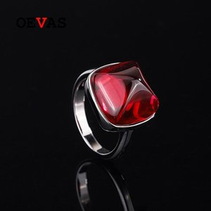 Cluster Rings OEVAS 100% 925 Sterling Silver 14*14mm Tower Ruby Sapphire High Carbon Diamond For Women Sparkling Party Fine Jewelry Gift
