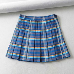 Skirts Summer Style Korea Pleated High-waisted Plaid Skirt Tennis A-line