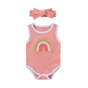 Born Infant Romper Baby Girls Boys Fashion Rainbow Candy Color Jumpsuit With Bowknot Headband 2pcs Toddler Kids Clothes 2021 Rompers