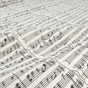 Music Note Printed Linen Cotton Fabric Tablecover Home Decor Material Craft 150cm wide sold by yard g4iI#