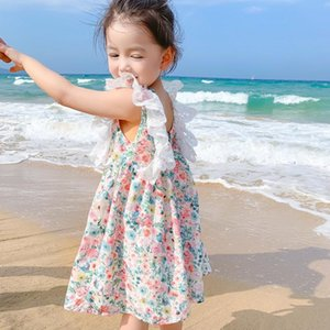 Girl's Dresses Girls Floral Sweet Cute Summer Children Lace Flying Sleeve Princess Vestidos Fashion Backless Costumes