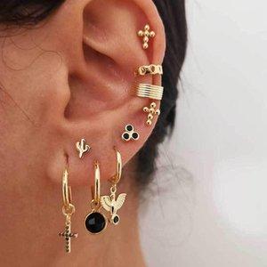 Gothic Cross Black Ohrring Set für Frau Gold Gefüllt CZ Kleine Kaktus Taube Bols Winzige Ohr Manschette 2021 Schmuckbolzen
