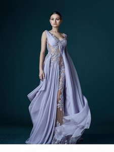 2018 Deep V-neck Lavender Evening Dresses With Wrap Appliques Sheer Backless Stunning Chiffon Celebrity Gowns Long Prom Dress