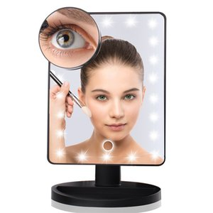 Lighted Makeup Mirror 22 LED Lights With 10X Magnifying 360 ° Rotation Touch Sensor Dimming Dual Power Supply Compact Cosmetic Mirrors