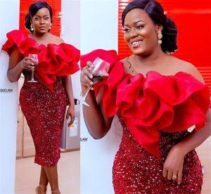 2021 плюс размер арабский ASO EBI красное сексуальное колено длина выпускного вечера платья одного плеча вечернее вечернее вечеринка второе приемные платье ZJ332