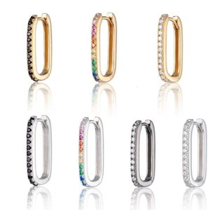 925 Sier Huggie Hoop Earrings with Rainbow Ston Safety Pins Earring