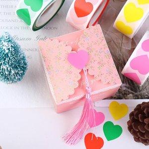 500 unids / rollo DIY amor corazón forma sello etiqueta bolsa autoadhesivo sellado pegatinas regalo favor calcomanías embalaje para el día de San Valentín GWE5777