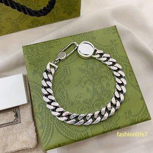 Bracelet chain Wide Interlocking designers classic double letter bracelets same version 1-1 as the shoppe luxurys 925 sterling Silver retro charming top quality