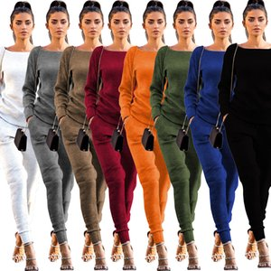 Womens Tracksuits Sets Scoop Neck Two Piece Set Long Sleeve Crop Top Pencil Pants Suit Fashion Autumn Winter Sport Clothing