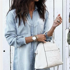 Fashion Women Denim Shirt Vintage Blue Jean Blouses Casual Long Sleeve Ladies Tops Blouse Femme