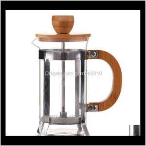 Sets 350Ml French Press Stainless Steel Coffee Pot With Bamboo Lid And Handle Durable Portable Tea Glass Kettles Kaapm F6V5I