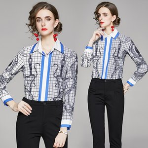 Luxury Fashion Printed Runway Women's Shirt 2021 Designer England Style Long Sleeve Lapel Button Blouse Spring Autumn Winter Sweet Classic Casual Office Ladies Tops