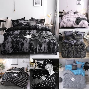 41 Bedding Set Super King Duvet Cover Sets 3pcs Marble Single Queen Size Black Stone Comforter Bed Linens Cotton 200x200 1461 V2