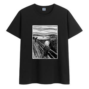 Летний хлопок свободная футболка повседневная тенденция молодая красивая одежда высококачественные круглые шеи мода шаблон печати мужские короткие рукава