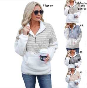 2020 Womens Sherpa Fleece Hoodie Winter Warm Plush Furry Pullover Sweaters Fashion Striped Half Zipper Blouses Outwear Plus Size Tops D91711