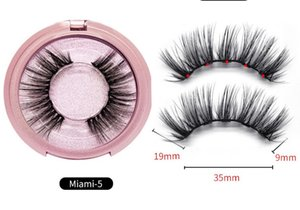 pink round case No glue Magnetic eyelashes Long lasting Reusable extension eyelash Comfortable Magnetic Eyeliner Five piece make up set makeup mink eyelash