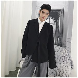 Chiffon Irregular Blazer Suit For Men Casual Solid Loose Fashion Basic Blazers Mens Black White Trend Lace up Jackets DS50759