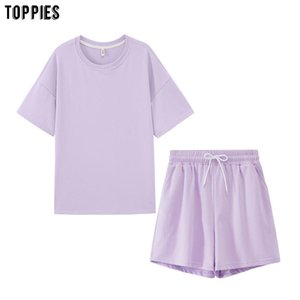 Women's Tracksuits Toppies Summer Womens Two Peices Set Leisure Outfits Cotton Oversized T-shirts High Waist Shorts Candy Color Clothing