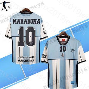 2001 Retro Futbol Formaları Arjantin Maradona # 10 Hatıra Sürümü 01 Klasik Futbol Gömlek