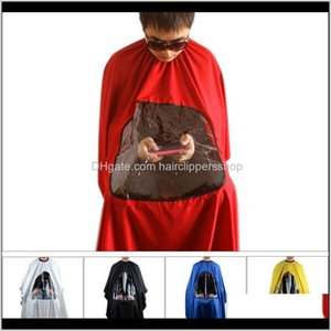 Colors Salon Barber Hair Cutting Gown Cape With Viewing Window Hairdresser Wrap Apron Zbnfi Np4Lu