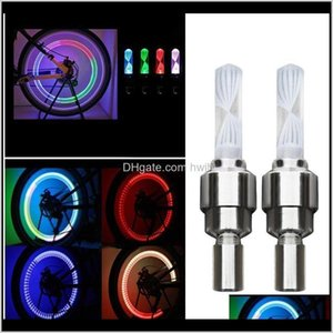 2Pcs Tire Cap Bicycle Flash Light Mountain Road Bike Cycling Tyre Lights Led Neon Lamp Cover Wheel 9N0Ss 90Bxq