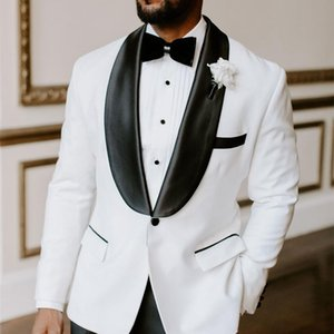 Suits White and Black Wedding Prom Party Formal Groomsmen Wear Shawl Lapel Groom Tuxedos 2 Pieces Men (Jacket+Pants+Tie