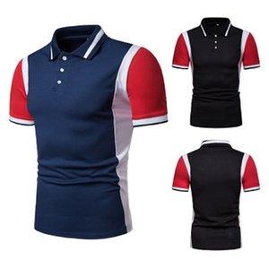 Tee Summer Fashion European Size Men's Casual Short-sleeved T-shir Rib Collar Polo Shirt P015