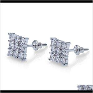 Knot Drop Delivery 2021 Luxury Designer Jewelry Men Earrings Hip Hop Jewlery Statement Stud Earings Iced Out Diamond Hoop Orecchini Firmati D