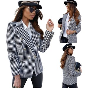 Autumn and winter 2021 Long Sleeve Plaid printed double breasted Blazer for women