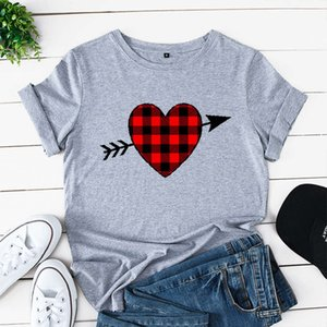 Red Plaid Heart Print Womans Tshirts Cartoon Funny Graphic Tee Shirts Streetwear Ladies T-shirt Women Loose Plus Size Tops 5XL