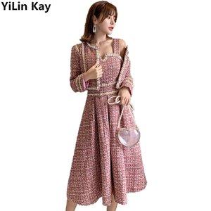 Automne hiver Femme brillant rouge tweed wood gilet gilet robe twinset dames petit costume robes de perles de laine 2 ensembles 210407