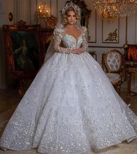 Princess Ball Gown Wedding Dress 2022 Sheer Neck Beaded Long Sleeve vestido de novia Plus Size Lace Appliqued Bridal Gowns