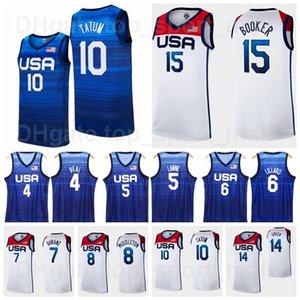 2021 Tokyo Summer Olympics US Basketball Jersey 15 Devin Booker 6 Damian Lillard 10 Jayson Tatum 7 Kevin Durant 5 Zach LaVine 4 Bradley Beal