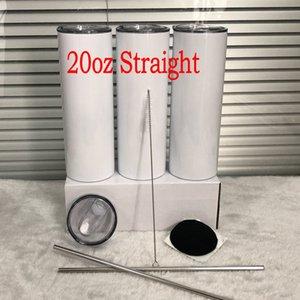 20 once a sublimazione tazze di bicchieri dritto set set per ufficio in acciaio inox in acciaio inox tumbler con coperchio chiuso tazza di acqua sottile paglia per regali da partito
