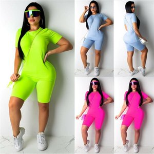 2PCS Set Women Sports Suit Neon Top Short Pants Workout Clothes Tracksuit Fashion Summer Outfit Ladies Casual 2 Piece Set 2021 Women's Track